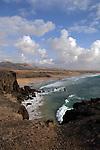 Waves on the beach,Playa del Castillo, El Cotillo, Fuerteventura, Canary Islands, Spain.