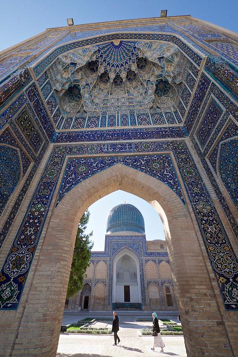 Uzbekistan, Samarqand. Guri Amir Mausoleum, containing the graves of Tamerlane (Amir Timur) and Ulugbek.