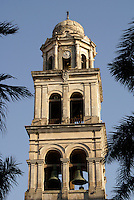 Bell tower of the 18th-century cathedral on the zocalo or Plaza de Armas in the port of Veracruz, Mexico