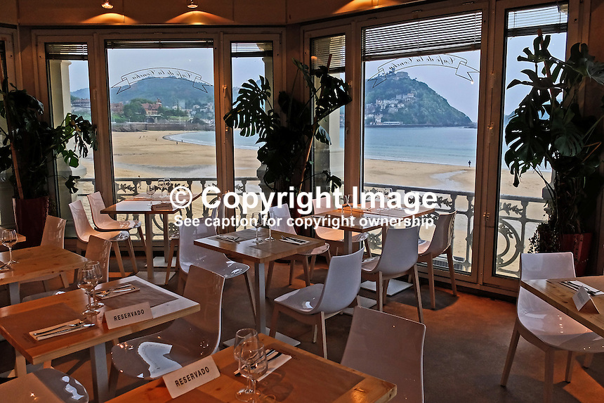 La Concha, restaurant, beach, San Sebastian, Donostia, Spain, May, 2015, 201505111067<br />