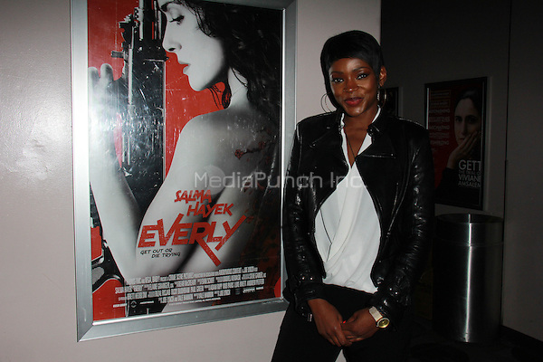 """BEVERLY HILLS, CA - FEBRUARY 28: Caroline Chikezie at the """"Everly"""" Opening Weekend Splatter-Ganza at Laemmle's Music Hall, Beverly Hills, California on February 28, 2015. Credit: David Edwards/DailyCeleb/MediaPunch"""