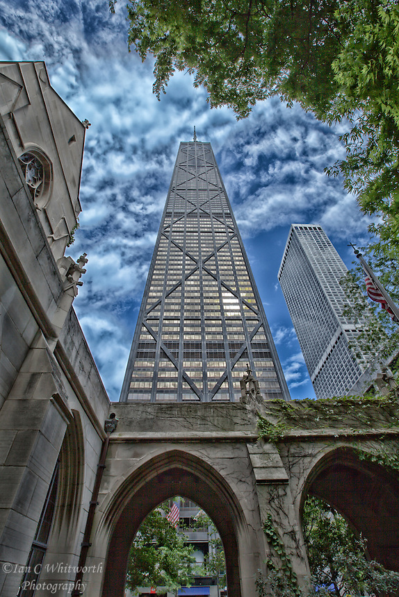 A view of the John Hancock Tower from the grounds of the Fourth Presbyterian Church in Chicago.