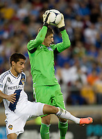 Earthquakes goalkeeper David Bingham makes a save during the game against Galaxy at Stanford Stadium in Palo Alto, California on June 30th, 2012.  San Jose Earthquakes defeated LA Galaxy, 4-3.