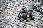 Photo shows the elaborate tiling on the roof of Dogo Onsen, thought to be Japan's oldest spa in Matsuyama City, Ehime Prefecture, Japan on 20 Feb. 2013.  Photographer: Robert Gilhooly