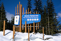 Official Signage at Whistler Olympic Park - Site of Vancouver 2010 Winter Games, Whistler Resort, British Columbia, Canada - Editorial Use Only