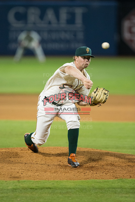 Greensboro Grasshoppers relief pitcher Jordan Hillyer (47) delivers a pitch to the plate against the Kannapolis Intimidators at NewBridge Bank Park on July 7, 2016 in Greensboro, North Carolina.  The Dash defeated the Pelicans 13-9.  (Brian Westerholt/Four Seam Images)