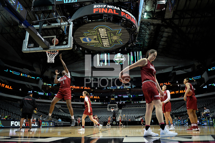 Dallas, TX - Friday March 31, 2017: Nadia Fingall prior to the NCAA National Semifinal Game between the women's basketball teams of Stanford and South Carolina at the American Airlines Center.