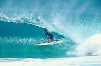 Chappy Jennings (AUS) surfing Kirra during the swell generated from Cyclone Betsy. Betsy is considered one of the best cyclone swells in the past 20 years. Kirra Point, Coolangatta, Queensland, Australia. circa 1992. Photo: joliphotos.com