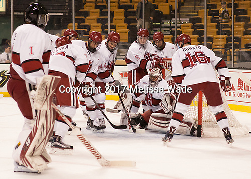 Sihak Lee (Harvard - 1), Phil Zielonka (Harvard - 72), Luke Esposito (Harvard - 9), Michael Floodstrand (Harvard - 44), Adam Fox (Harvard - 18), Tyler Moy (Harvard - 2), Ryan Donato (Harvard - 16), Merrick Madsen (Harvard - 31) - The Harvard University Crimson defeated the Northeastern University Huskies 4-3 in the opening game of the 2017 Beanpot on Monday, February 6, 2017, at TD Garden in Boston, Massachusetts.