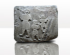 Picture & image of a Neo-Hittite orthostat showing a Conjurer & acrobats from Alacahöyük, Alaca Çorum Province, Turkey. Ancora Archaeological Museum.  The conjurer on the left has long hair and is swallowing a dagger whilst the acrobats go up the stairs without holding on. All the figures are wearing horned headress and large looped earings. The acrobats are thought to be foreigners which is why they are smaller than the conjurer. Old Bronze age Chalcolithic Period. 3