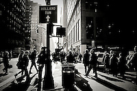 Crowded Fashion Avenue, at the corner of W40th street, on a sunny winter afternoon, Midtown Manhattan, New York, 2009.