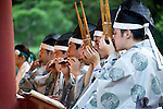 Musicians perform during the annual Reitaisai Grand Festival at Tsurugaoka Hachimangu Shrine in Kamakura, Japan on  14 Sept. 2012.  Sept 14 marks the first day of the 3-day Reitaisai festival, which starts early in the morning when shrine priests and officials perform a purification ritual in the ocean during a rite known as hamaorisai and limaxes with a display of yabusame horseback archery. Photographer: Robert Gilhooly