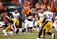 Tyler Eifert #85 of the Cincinnati Bengals runs with the ball after catching a pass against the Pittsburgh Steelers in the first quarter during the Wild Card playoff game at Paul Brown Stadium on January 9, 2016 in Cincinnati, Ohio. (Photo by Jared Wickerham/DKPittsburghSports)