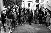 Roma 28 Ottobre  1994.Teodoro Buontempo commemora i martiri fascisti della Marcia su Roma al Mausoleo del Cimitero Verano.Rome 28 October  1994.Teodoro Buontempo commemorate the fascist martyrs of the March on Rome to the Mausoleum of the Cemetery Verano.