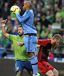 Portland Timbers goalie Adam Kawarsey (12) makes a save on goal during an MLS match on April 26, 2015 at CenturyLink Field in Seattle, Washington.  Seattle Sounders Clint Dempsey scored a goal to give the Sounders a 1-0 victory over the Timbers. Jim Bryant Photo. ©2015. All Rights Reserved.