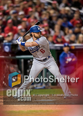 13 October 2016: Los Angeles Dodgers infielder Charlie Culberson in action during the NLDS Game 5 against the Washington Nationals at Nationals Park in Washington, DC. The Dodgers edged out the Nationals 4-3, to take Game 5, and the Series, 3 games to 2, moving on to the National League Championship against the Chicago Cubs. Mandatory Credit: Ed Wolfstein Photo *** RAW (NEF) Image File Available ***