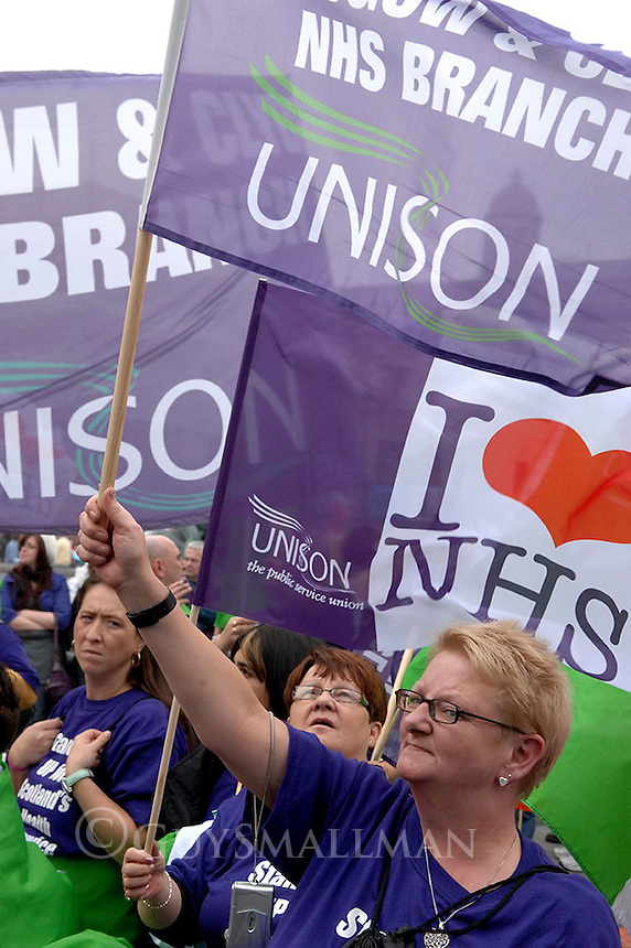 Trades Unions whose members work in the health service stage a national demonstration against cuts and privatisation in the National Health Service.
