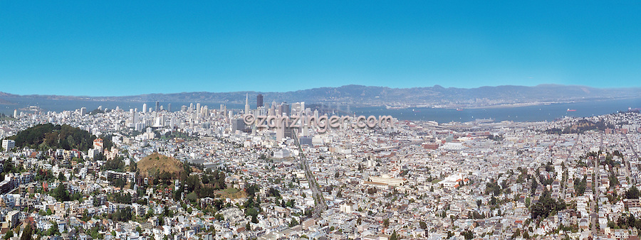 Vew from the Twin Peaks hills in San Francisco, CA CGI Backgrounds, ,Beautiful Background