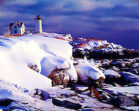 Cape Neddick Light in Winter, York, Maine  Atlantic Ocean