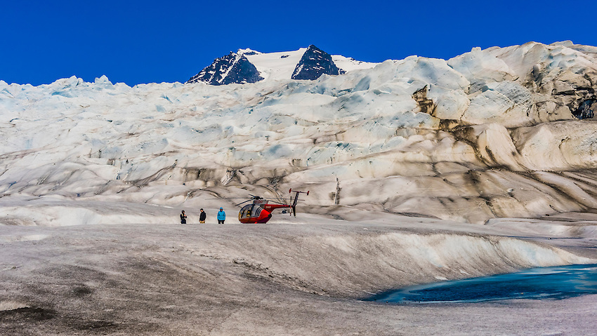 Temsco Helicopters landing on Mendenhall Glacier during flightseeing, Juneau, Alaska USA.