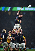 David Denton of Scotland fails to claim the ball in the air at a lineout. Rugby World Cup Quarter Final between Australia and Scotland on October 18, 2015 at Twickenham Stadium in London, England. Photo by: Patrick Khachfe / Onside Images