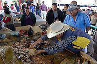 Quer&eacute;taro, Qro. 20 Septiembre 2012.  Boye: Lugar de piedras negras y barbacoa.<br /> <br /> El pueblo de Boy&eacute; est&aacute; ubicado en el Municipio de Cadereyta de Montes, y este a&ntilde;o se llev&oacute; acabo la 12va. edici&oacute;n de la feria del pulque y la barbacoa. En esta comunidad es principalmente es cultivado el Maguey, planta de donde proviene el pulque bebida hecha artesanalmente y que a base de fermentaci&oacute;n da como resultado esta bebida que ha acompa&ntilde;ada a las familias mexicanas desde la &eacute;poca prehisp&aacute;nica, el Pulque. Que es elaborado a base de esta planta que es cultivada por alrededor de 6 a&ntilde;os y que es cuidada &uacute;nicamente por la naturaleza ya que solo con la lluvia es como crece para poder extraer de sus entra&ntilde;as el aguamiel. Despu&eacute;s de extraer de las entra&ntilde;as del agave todo el liquido posible, que puede durar hasta tres semanas, se utiliza el sobrante para el forraje o para generar fuego, ademas de obtener una ra&iacute;z masticable llamada Quiote dulce y jugoso que se utiliza com postre en restaurantes de alta cocina o cocina gourmet.<br /> <br /> Gracias a la fermentaci&oacute;n se puede obtener no solo el pulque, ya que sus hojas tambi&eacute;n son utilizadas para cobijar y dar sabor a la barbacoa tambi&eacute;n t&iacute;pica de esta localidad. <br /> <br /> La elaboraci&oacute;n de la barbacoa es hecha con carne de res o borrego que se introduce en hornos de piedra o tierra y que se pone a cocer de 6 a 9 horas, durante la cocci&oacute;n se extrae el consom&eacute;.<br /> <br /> Como parte del folklore, en el marco de esta feria tambi&eacute;n se visita al patrono de la comunidad San Antonio en la capilla que lleva su nombre.<br /> <br /> Esta feria se lleva se realiza del 19 al 24 de Septiembre, para conocer los diferentes sazones de los puestos que dan vida a esta tradici&oacute;n en Boye.<br /> <br /> <br /> FOTO: Yunuen Aviles/ AGENCIA OBTURA.   <br /> <br /> <br /> _