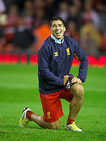 LIVERPOOL, ENGLAND - Thursday, October 4, 2012: Liverpool's Luis Alberto Suarez Diaz warms-up before the UEFA Europa League Group A match against Udinese Calcio at Anfield. (Pic by David Rawcliffe/Propaganda)
