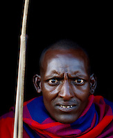 Maasai tribesman, Maasai Mara, Kenya.