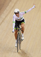 Picture by Alex Broadway/SWpix.com - 02/03/2016 - Cycling - 2016 UCI Track Cycling World Championships, Day 1 - Lee Valley VeloPark, London, England - Rebecca Wiasak of Australia celebrates victory in the Women's Individual Pursuit Final.