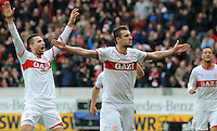 FUSSBALL  1. BUNDESLIGA  SAISON 2011/2012  29. Spieltag   07.04.2012 VfB Stuttgart - 1. FSV Mainz JUBEL Stuttgart; Torschuetzen  Zdravko Kuzmanovic (re) und Vedad Ibisevic (li)
