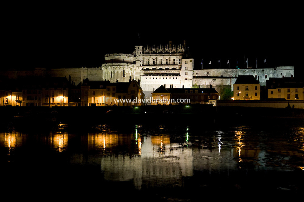Nighttime view of the Amboise castle and the Loire river in France, 26 June 2008.