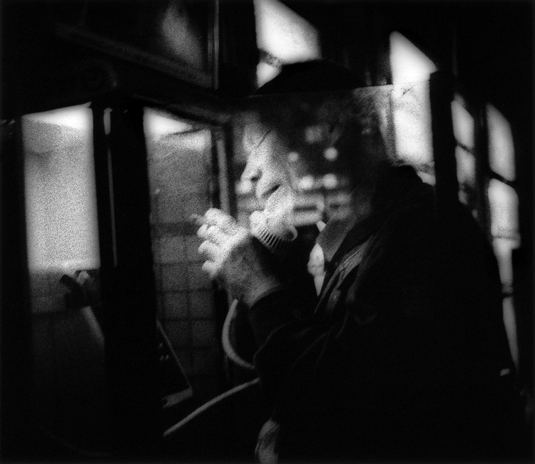 Night phone call and a smoke, Hatagaya, Tokyo, Japan.