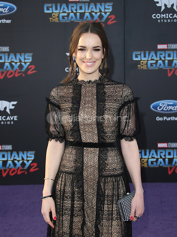 "HOLLYWOOD, CA - April 19: Elizabeth Henstridge, At Premiere Of Disney And Marvel's ""Guardians Of The Galaxy Vol. 2"" At The Dolby Theatre  In California on April 19, 2017. Credit: FS/MediaPunch"