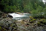 Scenic cascading waterfall in British Columbia