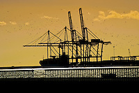 Port cranes load a cargo ship in the port of Malaga, Spain, 9 December 2006.