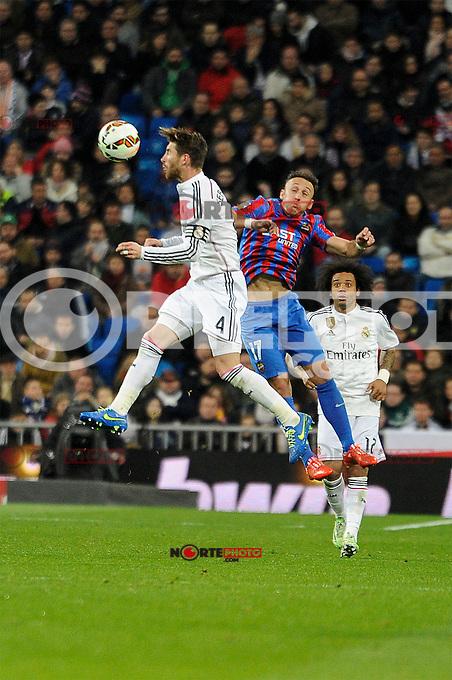 Real Madrid´s Sergio Ramos and Levante UD´s Jordi Xumetra Feliu during 2014-15 La Liga match between Real Madrid and Levante UD at Santiago Bernabeu stadium in Madrid, Spain. March 15, 2015. (ALTERPHOTOS/Luis Fernandez) /NORTEphoto.com