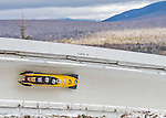 9 January 2016: Germany pilot Maximilian Arndt leads his 4-man team as they cruise through Curve 14 during their second run of the day at the BMW IBSF World Cup Bobsled Championships at the Olympic Sports Track in Lake Placid, New York, USA. Arndt's team won the gold with a 2-run combined time of 1:49.70. Mandatory Credit: Ed Wolfstein Photo *** RAW (NEF) Image File Available ***