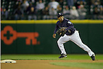 Seattle Mariners'  second baseman Chone Figgins hustles towards a play at second against the Baltimore Orioles at SAFECO Field in Seattle April 19, 2010. The  Mariners beat the Orioles 8-2. Jim Bryant Photo. &copy;2010. ALL RIGHTS RESERVED.