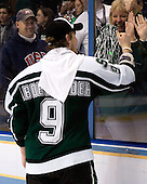 Justin Abdelkader (Michigan State - Muskegon, MI) gives his mother Sheryl Abdelkader a thumbs up. The Michigan State Spartans defeated the Boston College Eagles 3-1 (EN) to win the national championship in the final game of the 2007 Frozen Four at the Scottrade Center in St. Louis, Missouri on Saturday, April 7, 2007.