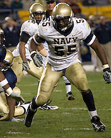 10 October 2007: Navy linebacker Irv Spencer..The Navy Midshipmen beat the Pitt Panthers 48-45 in double overtime on October 10, 2007 at Heinz Field, Pittsburgh, Pennsylvania.