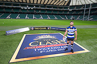 """Guy Mercer of Bath Rugby. Bath Rugby Photocall for """"The Clash"""" on September 22, 2016 at Twickenham Stadium in London, England. Photo by: Andrew Fosker / Onside Images"""