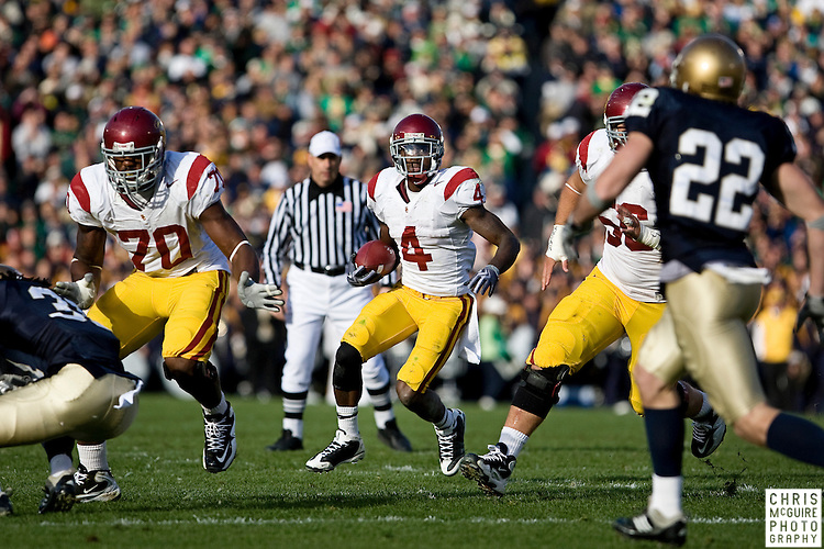 10/17/09 - South Bend, IN:  USC running back Joe McKnight follows his blockers during their game against Notre Dame at Notre Dame Stadium on Saturday.  USC won the game 34-27 to extend its win streak over Notre Dame to 8 games.  Photo by Christopher McGuire.