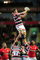 Ed Slater of Leicester Tigers wins the ball at a lineout. Aviva Premiership match, between Leicester Tigers and Saracens on January 1, 2017 at Welford Road in Leicester, England. Photo by: Patrick Khachfe / JMP