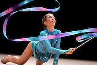 Fruzsina Benyo of Hungary performs with ribbon at World Games from Duisburg, Germany on July 21, 2005.  Event finals in rhythmic gymnastics are only held at World Games. (Photo by Tom Theobald)