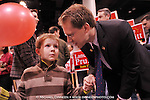 Incumbent Alaska State repesentative Lance Pruitt has a chat with son Jacob, 6, at election central Tuesday, Nov. 6, 2012 in Anchorage, Alaska.  (AP Photo / Michael Dinneen)
