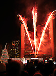 Cavalcade of Lights fireworks at Toronto City Hall Nathan Phillips Square Nov 28, 2009. Toronto, Ontario, Canada.