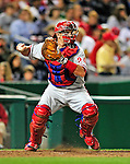 29 September 2010: Philadelphia Phillies' catcher Paul Hoover in action against the Washington Nationals at Nationals Park in Washington, DC. The Phillies defeated the Nationals 7-1 to take the rubber game of their 3-game series. Mandatory Credit: Ed Wolfstein Photo