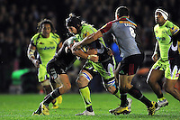Magnus Lund of Sale Sharks takes on the Harlequins defence. Aviva Premiership match, between Harlequins and Sale Sharks on November 6, 2015 at the Twickenham Stoop in London, England. Photo by: Patrick Khachfe / Onside Images