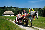 Stock photo of People in a horse and carriage ride Countryside scenic Ukraine Eastern Europe Horizontal