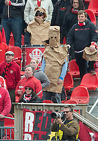 06 October 2012: AToronto FC fan wears a bag in protest during an MLS game between D.C. United and Toronto FC at BMO Field in Toronto, Ontario..D.C. United won 1-0..